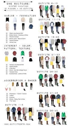winter vacation checklist graphic (Outfit Posts) In my ongoing attempt to create checklists for all the One Suitcase features – I created one for the Winter Vacation One Suitcase. Hope you enjoy! One Suitcase Winter Vacation Checklist: If you'd l Vacation Checklist, Holiday Checklist, Style Feminin, Travel Capsule, Vacation Travel, Vacation Rentals, Quoi Porter, Black Long Sleeve Shirt, Travel Wardrobe