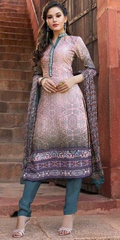 Lovable Pink And Grey Silk Straight Salwar Suit With Dupatta.