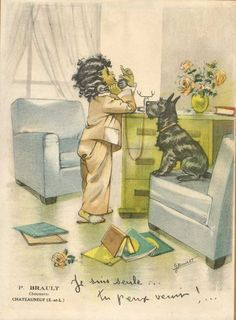 'It's for you, Scottie! Images Vintage, Vintage Artwork, Vintage Cards, Art And Illustration, Illustrations, Vintage Paper Dolls, Scottie Dog, Vintage Postcards, Vintage Ephemera