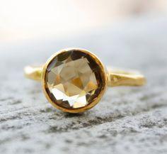 Citrine Ring - Vermeil Gold - Round Shape. $57.00, via Etsy.
