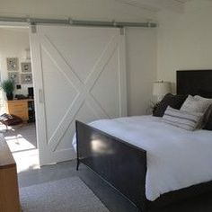contemporary  bedroom with office and barn door