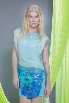Sale iridescent mint LAYERED wedding MARMAID DRESS by NATIPUREIDEA, $173.00