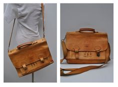 vintage leather bag satchel briefcase tote messenger by andyhaul