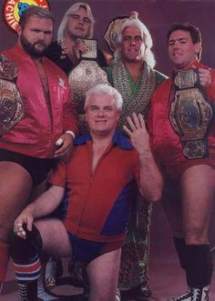 The Four Horsemen - NWA World Heavyweight Champion Ric Flair, NWA World Tag Team Champions Arn Anderson & Tully Blanchard and NWA United States Champion Barry Windham with J.J Dillon Nwa Wrestling, World Championship Wrestling, Watch Wrestling, Wrestling Stars, Wrestling Superstars, Wwe Tna, Wwe World, Ric Flair, Lucha Libre