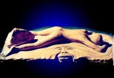 SCONFITTA. mia opera realizzata in creta e colorata con sostanze naturali. larghezza circa 40 cm.