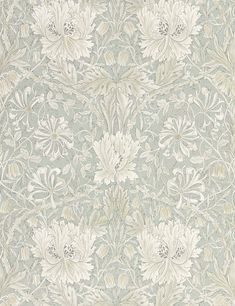 "Inspired from Arts & Crafts textile designer William Morris's watercolor paintings of ""Honeysuckle"", this gravure printed wallpaper brings a striking botanical pattern to life. Featuring symmetrical tulip flowers with lush foliage in a neutr Dining Room Wallpaper, Bold Wallpaper, Wallpaper Online, Print Wallpaper, Botanical Wallpaper, Wallpaper For House, Living Room Wallpaper Neutral, Kitchen Wallpaper Accent Wall, Wallpaper In Bedroom"