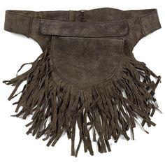 ceinture sacoche en cuir marron à franges / brown utility belt in leather