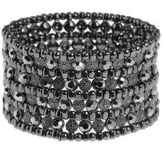 Dark grey diamante stretch bracelet ($51) ❤ liked on Polyvore
