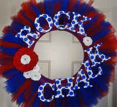 Kansas Jayhawks Rock Chalk Wreath by TACraftShop on Etsy, $47.00 I could SO make this!