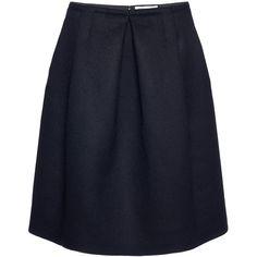 Agnona Nero Double Wool Crepe Tulip Skirt (99.985 RUB) ❤ liked on Polyvore featuring skirts, crepe skirt, box pleat skirt, wool knee length skirts, blue skirt and knee length skirts