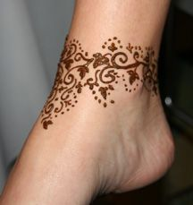 henna just around the ankles sounds like a good idea