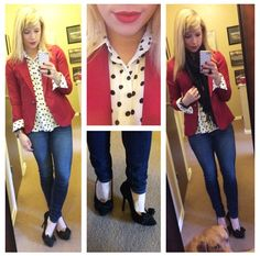 Blazer: Gabes, Polka-dot top: F21, Jeans: American Eagle, Pumps: Betsey Johnson via Marshall's, Scarf: ? Lip: Revlon Stay Matte in 'Really Red'