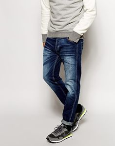 Jack & Jones Jeans With Blasting In Tapered Fit