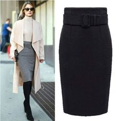 The Women's High Waist Pencil Skirt is great for office wear or dressing up. This high fashion skirt comes in 3 classic colors and in sizes from S to XL. Waistline: Empire Material: Cotton,Polyester,W