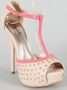 high heel Nude High Heel Platform Peep Toe Studded Shoes Buckle Strap Fashion Stiletto Women Shoes Dazzling-107 deal