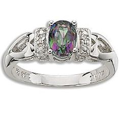 Vintage style mystic fire topaz ring.
