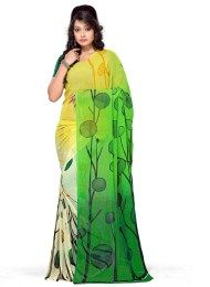 Green Color New Print Work In This Georgette Sari