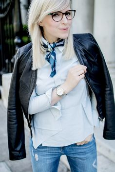 business look with my new glasses from Vogue Eyewear. Wearing zara denim and IKKS lether jacket