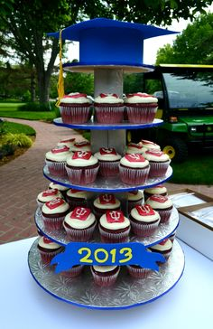 Complete Graduation Party Cupcake Tower featuring IU Cupcakes - June 2013