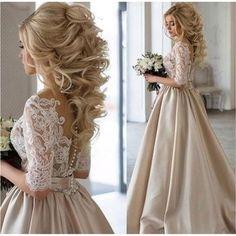 Champagne Half Sleeve Satin Lace Applique Long Prom Dresses 2017 Covered Button Back Evening Party  Vestido De Festa