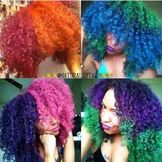 Kinky curly hair can be colored and soft and pretty color kept Dyed Natural Hair, Natural Hair Tips, Dyed Hair, Natural Hair Styles, Colored Natural Hair, Natural Beauty, Hair Chalk, African American Hairstyles, Rainbow Hair