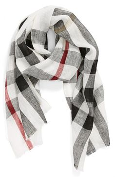 Women's Burberry 'Giant Exploded Check' Linen Scarf Womens Ivory Check