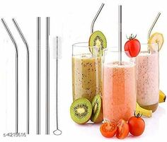 Checkout this latest Water & Juice Glasses Product Name: *2 Bend 2 Straight Steel Straw & 1 Cleaning Brush* Country of Origin: India Easy Returns Available In Case Of Any Issue   Catalog Rating: ★4.4 (301)  Catalog Name: Trendy Stainless Steel Straw Vol 1 CatalogID_602391 C136-SC1603 Code: 591-4215616-513