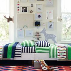 Shared Bedroom Ideas and Bold Stripes by Hanna Home  #HannaHome