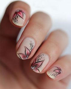 Embrace summer with a gorgeous pale pink butterfly design #simplynails