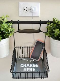 Salon decor ideas DIY charging station