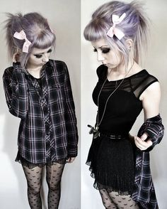 #pastel #dark #bows #black #dress