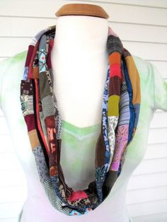 Upcycled skinny loop  infinity scarf or necklace  by zasra on Etsy, $45.00
