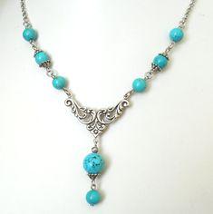 turquoise necklace turquoise filigree necklace turquoise by minouc