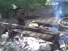 Fresh trout on the fire.