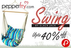 Pepperfry is offering Upto 40% off on Swings Chairs By Slack Jack. so much variety of swing chairs like Baby Cradle, Cushion Swings, Nest Swing, Mexican Swing, Safari Swings, Hammock, Camping hammock, quilted hammock, Brazilian Swing & many more swing products.  http://www.paisebachaoindia.com/swings-chairs-by-slack-jack-upto-40-off-pepperfry/