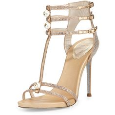 Rene Caovilla Pearly T-Strap Leather Sandal (€1.190) ❤ liked on Polyvore featuring shoes, sandals, heels, sapatos, beige, rene' caovilla sandals, glitter sandals, leather sandals, glitter shoes and leather heeled sandals