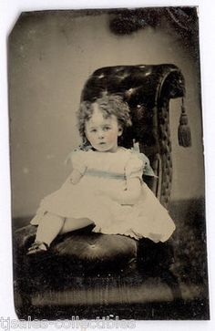 Baby Girl with Curly Hair Antique Vintage Tin Type Photograph 1 6 Plate | eBay