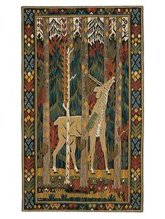 ENHÖRNINGEN Designed by Märta Måås-Fjetterström before 1917 #MMF #MärtaMååsFjetterström #MartaMaas #Handwoven #Handmade #Wallhanging #Tapestry #SwedishDesign