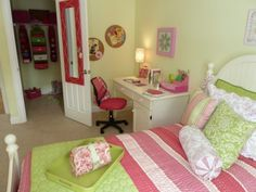 Pink Girl's Bedroom by Creative Decor by Mandi   Manchester, NH  bedding is Liz Claiborne, desk is JCPenny, walls are Benjamin Moore celedon green
