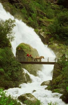 View top-quality stock photos of Tourist Crossing A Waterfall On A Bridge With A Horse Cart Olden Norway. Find premium, high-resolution stock photography at Getty Images. Beautiful Norway, Beautiful World, Bergen, The Places Youll Go, Places To See, Wonderful Places, Beautiful Places, Magic Places, Phuket