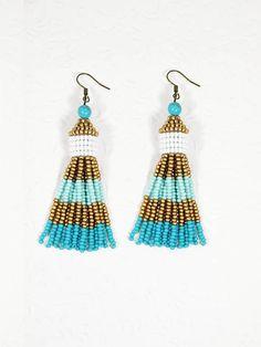 Turquoise long earring Bead tassel earring Boho chick earring