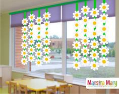 Spring decorations with daisies - of - - Spring Crafts For Kids, Paper Crafts For Kids, Preschool Crafts, Paper Flowers Craft, Flower Crafts, Christmas Classroom Door, Classroom Art Projects, Spring School, School Decorations