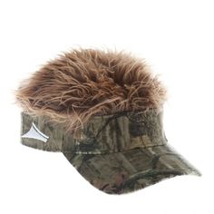 Flair Hair Men s Visor Hat Cap (Mossy Oak Camo w  Brown Hair) 0c89f133aea