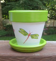 Flower Pot with Dragonfly Design Four Inch by EllensClayCreations, $12.00