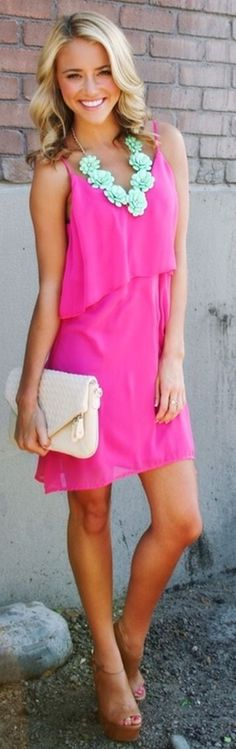 Lovely summer thin strap pink dress