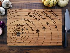 Geekery Engraved Wood Bamboo Cutting Board, solar system diagram with planet names, science student or teacher Christmas gift, astronomy. It's got Pluto! Custom Cutting Boards, Diy Cutting Board, Bamboo Cutting Board, Wood Cutting, Laser Cutting, Solar System Diagram, Wood Burning Crafts, Unusual Gifts, Laser Engraving