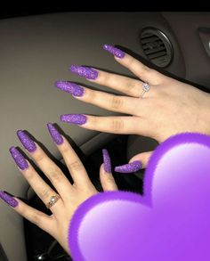 64 trendy purple nail art designs and ideas you need to try - Nails - Purple Glitter Nails, Purple Acrylic Nails, Purple Nail Art, Purple Nail Designs, Violet Nails, Trendy Nails, Cute Nails, Hair And Nails, My Nails