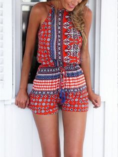 Red National Style Romper Playsuit   Choies