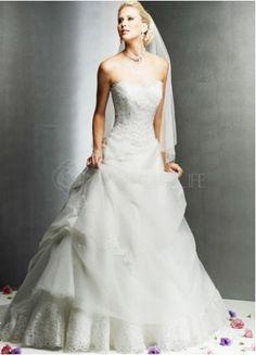 White Ball Gown Sweetheart Strapless Beaded Satin Wedding Dress
