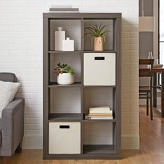 Better Homes and Gardens 8 Cube Storage Organizer, Multiple Colors, Rustic Gray Cube Bookcase, Cube Shelves, Cube Storage, Dorm Shelves, Storage Bins, Bookcases, Living Room Storage, Boho Living Room, Better Homes And Gardens